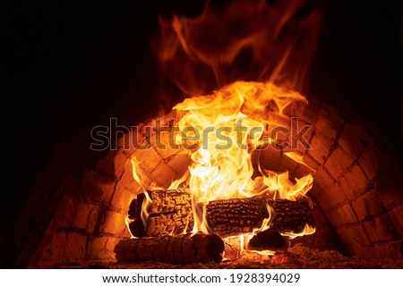 traditional wood fire oven inside hot Foto d'archivio ©