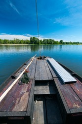 Traditional wooden boat tour in the Loire river in Loir-et-Cher Department of the Loire Valley, France, Europe, Unesco World Heritage Site