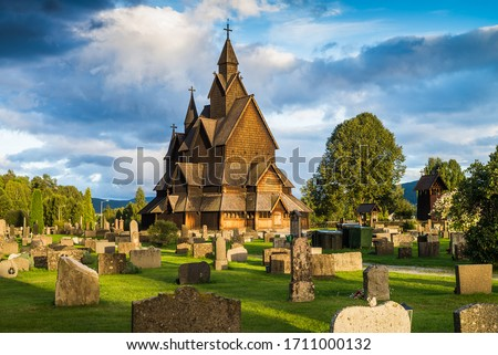 traditional wooden church, Norway, Europe. stock photo