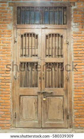 traditional wooden door with...