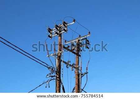 Traditional wooden electricity pylon/pole in Crete, Greece. #755784514