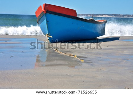 traditional wooden fishing boats beached at Paternoster on the westcoast of South Africa