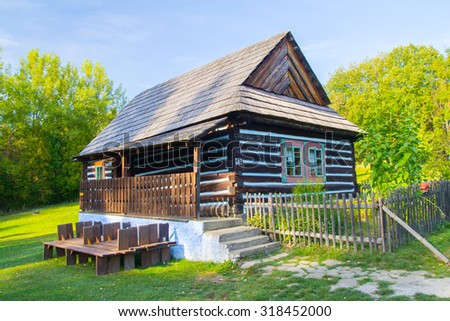 traditional wooden house in nature