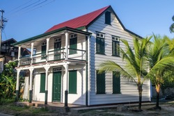 Traditional wooden house in Paramaribo, capital of Suriname.