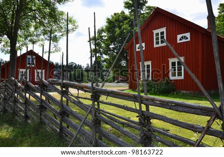 Traditional wooden houses in the Scandinavian village. Aland Islands