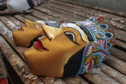 Traditional wooden masks for dance performance