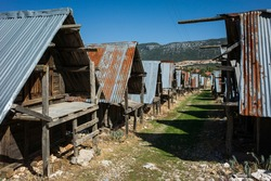 Traditional wooden old granaries in Bezirgan highlands on Lycian Way trail, Turkey