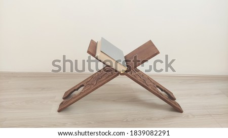 Traditional wooden reading table closeup Stok fotoğraf ©