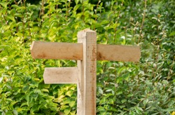 Traditional wooden signpost United Kingdom. Blank