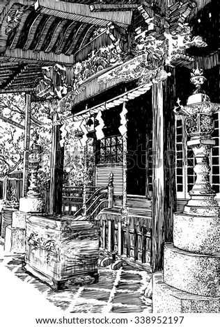 Traditional wooden temple in Japan. Black and white dashed style sketch, line art, drawing with pen and ink. Retro vintage picture.