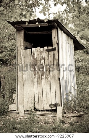 traditional wooden thunderbox outside toilet