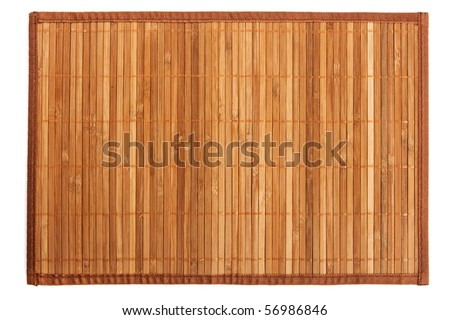 Traditional yellow bamboo pad isolated on white background
