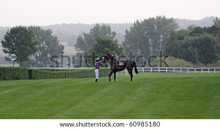 """TRADITIONSRENNBAHN BAD DOBERAN, GERMANY - AUGUST 20: Jockey  during a qualifying race on August 20, 2010 in the scope of the """"Ostsee-Meeting"""" at the traditional race course Bad Doberan (Germany)."""