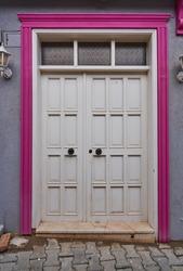 Traditonal door of building in Tirilye (Zeytinbağı), located along Marmara Sea, Mudanya, Bursa, Turkey