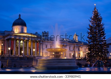 trafalgar square in christmas with christmas tree display