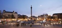 Trafalgar Square with Nelson Column at night