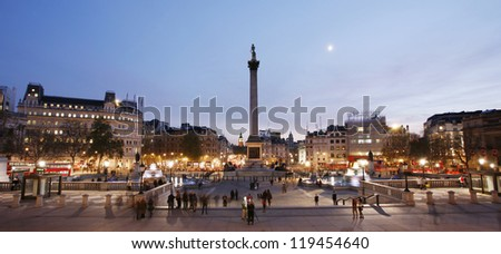 Trafalgar Square with Nelson Column at night