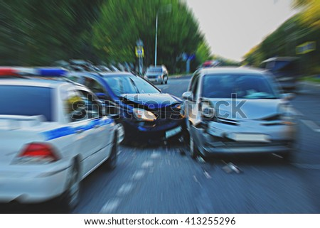 Traffic accident involving two vehicles on the road.