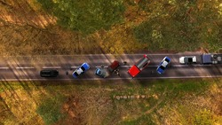 Traffic accident with vehicles aerial view