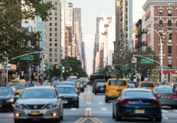 Traffic along 3rd Avenue in Manhattan New York City