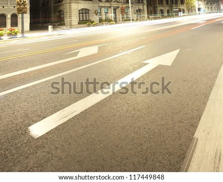 traffic arrow sign on Shanghai bund