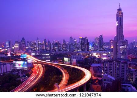 Traffic at night,Bangkok Thailand