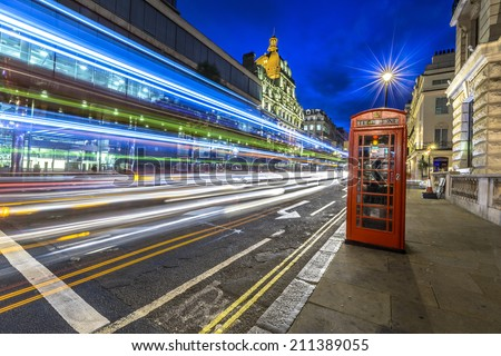 Traffic at night in the city of Westminster, London