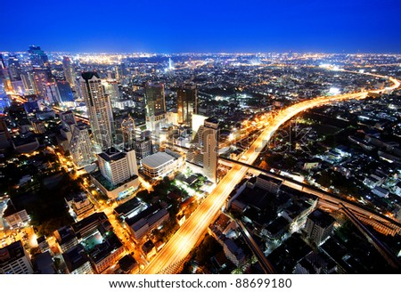 Traffic at night, View Point on a Sky Bar at Sirocco, Bangkok, Thailand