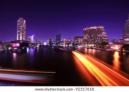 Traffic at night, View Point on a Taksin Bridge, Bangkok, Thailand