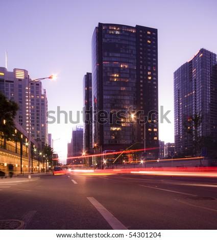 Traffic at sunset - stock photo