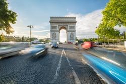 Traffic at the Arc de Triomphe in Paris, France