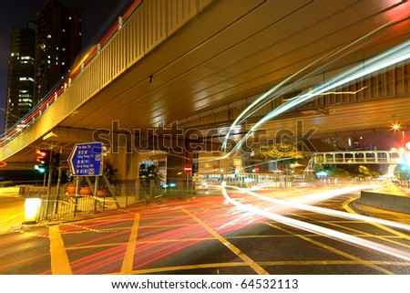 traffic by night in Hong Kong