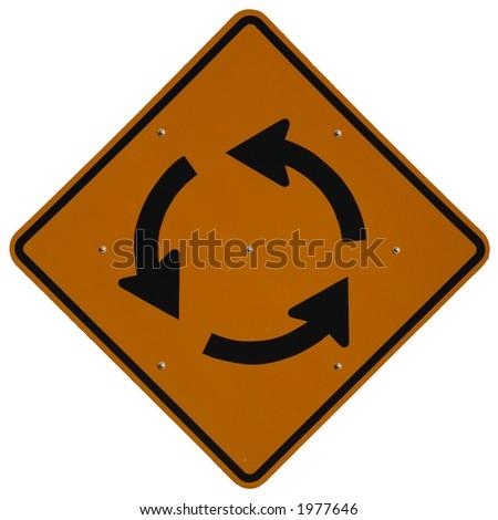 Traffic Circle Ahead road sign