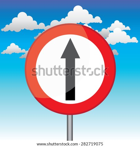 3a4807a127be Traffic circle shaped Straight Only sign with post on blue sky background   282719075