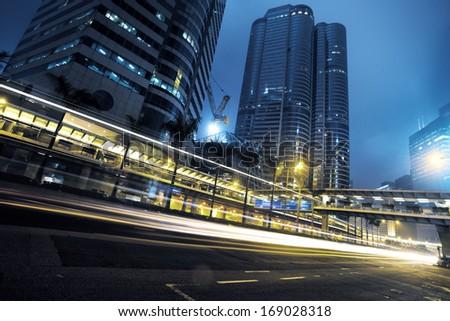 traffic city night  at hongkong,china #169028318