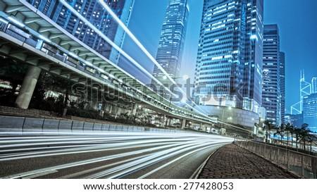 traffic city night  at hongkong,china #277428053