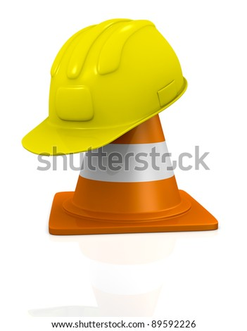 traffic cone and construction helmet, concept of work (3d render)