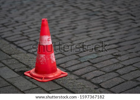 Photo of  Traffic cone for road works.