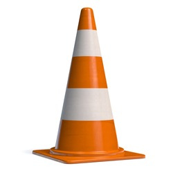 Traffic Cone for Roadworks Caution or Danger Alert. Attention Icon 3D illustration.
