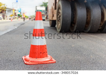traffic cone on construction road #348057026