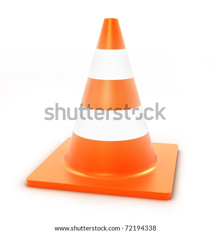 traffic cone on white background - stock photo