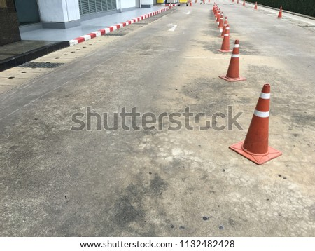 Traffic cone placed on the street #1132482428