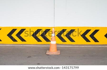 Traffic cone Traffic cone in the road