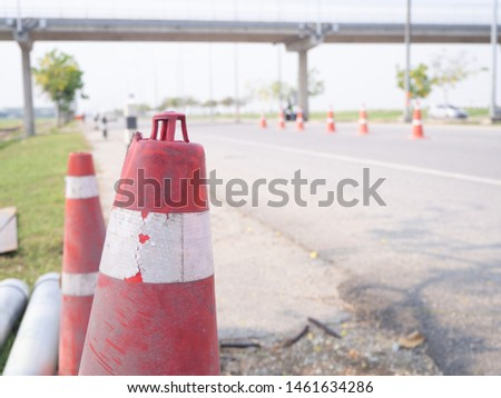 """Traffic cones and """" Diversion"""" sign outside"""