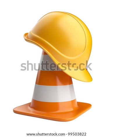 Traffic cones and hardhat. Road sign. Icon isolated on white background - stock photo
