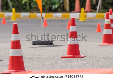 Traffic cones in driving school #716038792