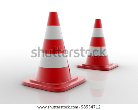 traffic cones isolated in white background