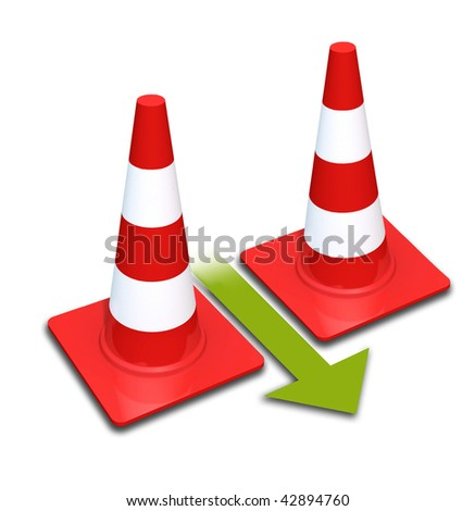 Traffic cones. Isolated on a white background. The arrow shows the direction.