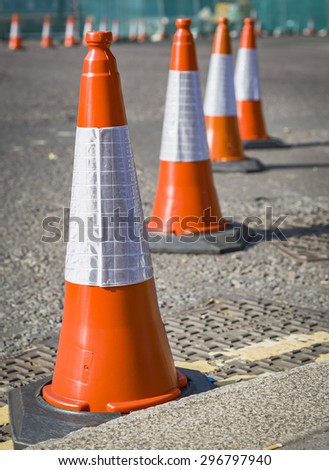 Traffic cones on the streets of London.