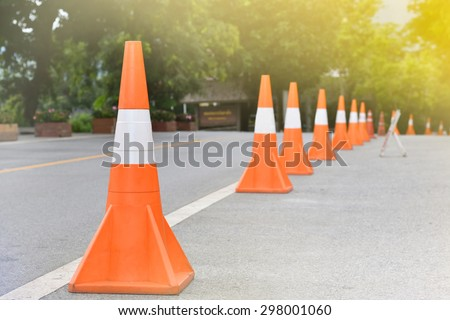 Traffic cones on the white line